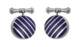 Cufflinks Blue Striped Round Design English Sterling Silver (CU398)