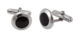 Cufflinks Round Black Onyx Design English Sterling Silver (CU431)