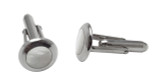 Cufflinks Round Mother of Pearl Design English Sterling Silver (CU432)