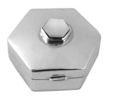 English Sterling Pillbox 5 Sided with Mother of Pearl Stone