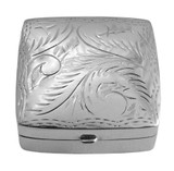 English Sterling Pillbox Engraved Square Design