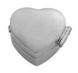 English Sterling Pillbox Small Plain Heart Design (PB430)