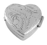 English Sterling Pillbox Small Engraved Heart Design (PB431)