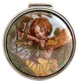 English Sterling Pillbox Round Shape with Enamel Girl Fairy (PB600)