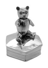 English Sterling Pillbox Bear on Octagonal Box