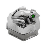 English Sterling Pillbox 6 Sided Has Frog on Top with Ruby Eyes