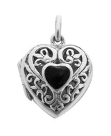 English Sterling Heart Pendant Locket with Small Black Onyx Heart (PT475)