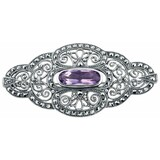 Sterling Silver Oval Brooch with Amehtyst Center Stone (B285)