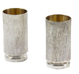Pair Tall Shot Glasses c.1900 English Silver Plate (A6490)