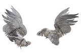 Silver-Plated Fighting Gamecocks, Pair