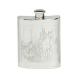 Polo Scene Engraved English Pewter Flask 6oz
