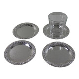 Queen Anne Set of 4 Coasters Silver Plate 5.75""