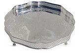 """English Silver-Plated Shaped Gallery Tray on 4 Ball & Claw Feet 12"""""""