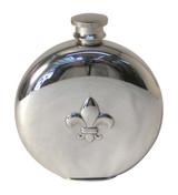 Fleur D'Lis Round English Pewter Flask 6oz