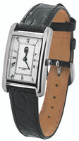Ladies' watch;curved white enamel dial;black leather strap;swiss movement;water resistant case;
