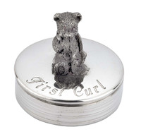 Baby First Tooth Or Curl Round Box with Bear Design English Pewter