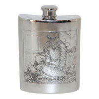 6oz English Pewter Flask. Has fishing scene on both sides