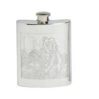 Double Sided Engraved English Pewter Flask 6oz
