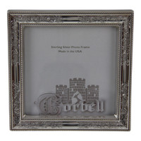 "Sterling Silver Frame Nostalgia Design with Wood Back 5""x 5"""