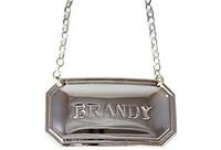 Brandy Cut Corner Decanter Label English Silver Plate