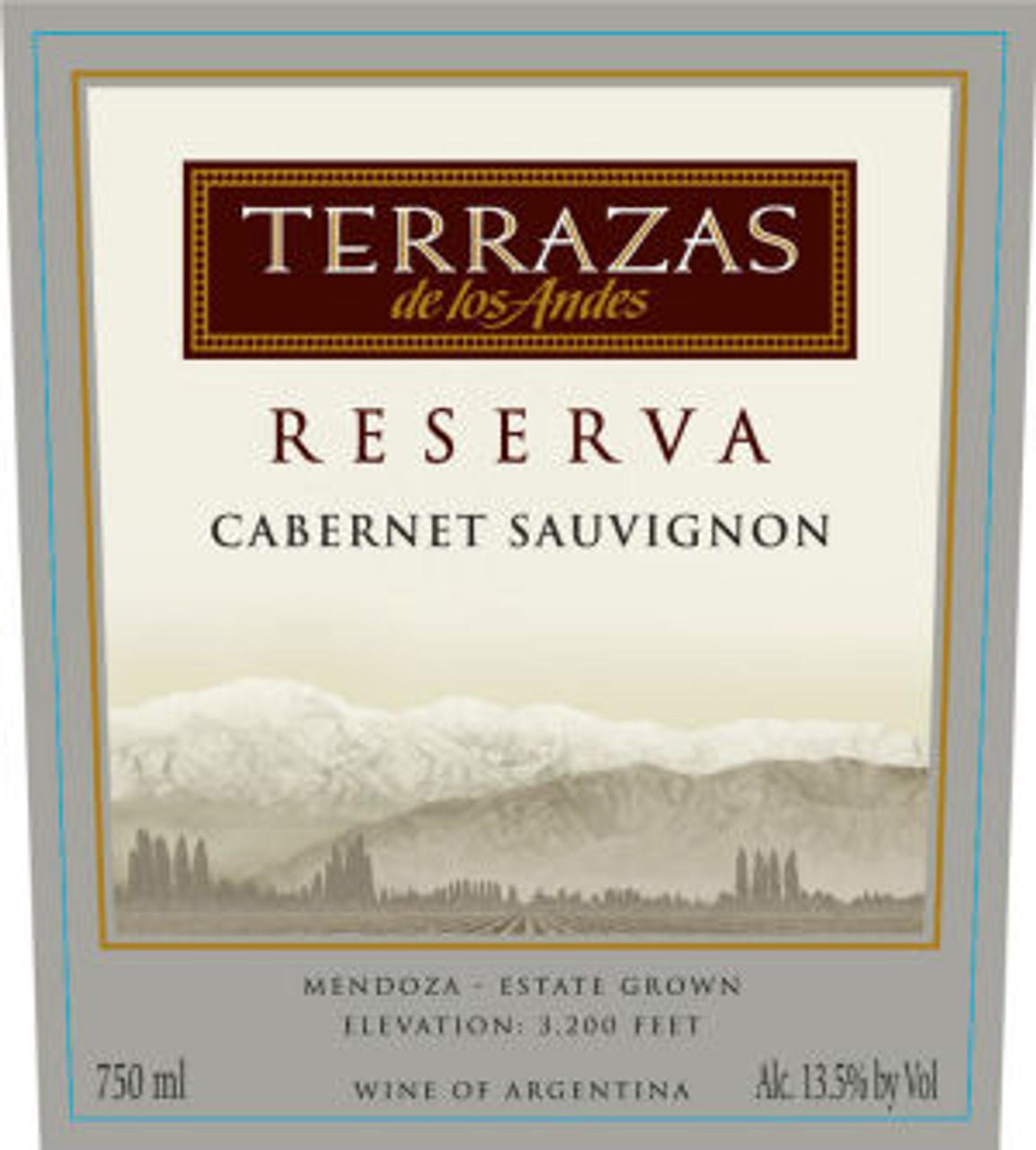 12 Bottle Case Terrazas De Los Andes Reserva Cabernet 2015 W Free Shipping