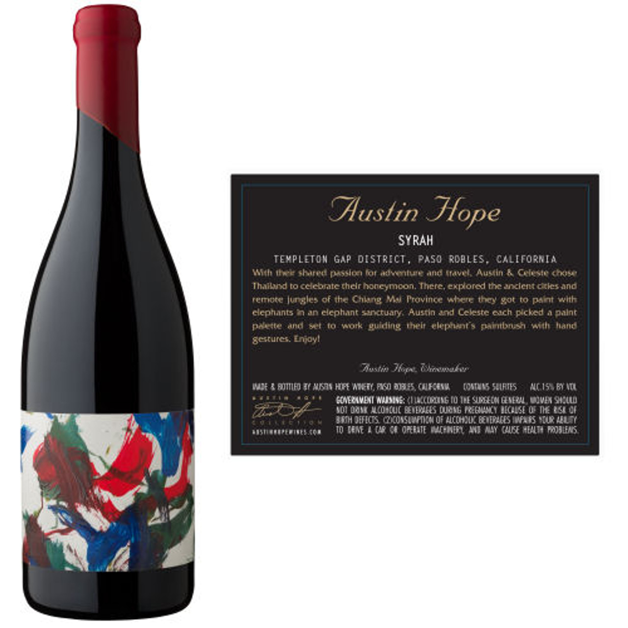 12 Bottle Case Austin Hope Templeton Gap District Paso Robles Syrah 2014 w/ Free Shipping