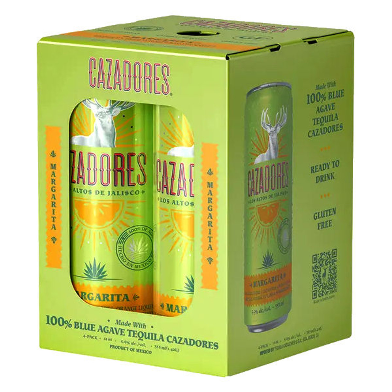 Cazadores Tequila Margarita Cocktail Ready-To-Drink 4-Pack 12oz Cans