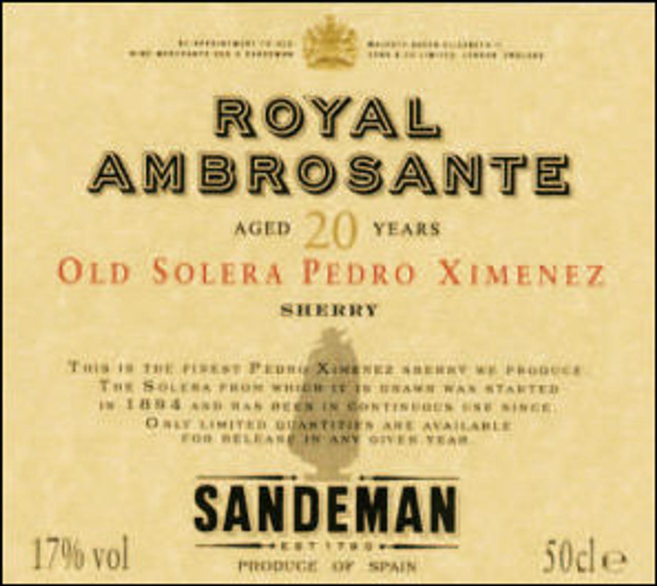 Sandeman Royal Ambrosante 20 Years Old Solera Pedro Ximenez Sherry 500ML