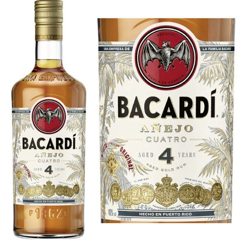 Bacardi Cuatro 4 Year Old Anejo Rum 750ml