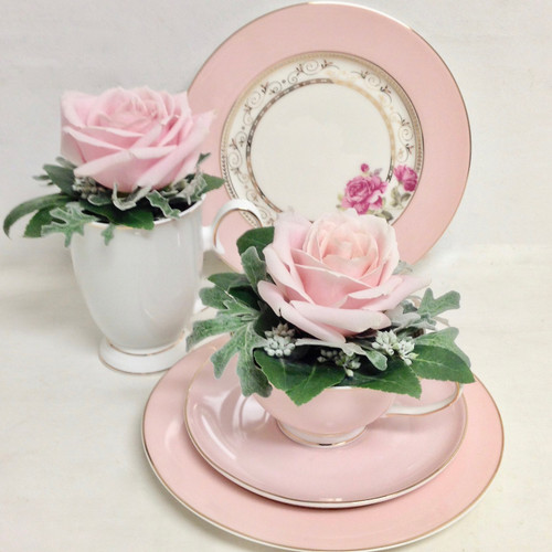 Side plate is 19.5cm Cup 250ml Mug 300ml capacity available in dusty pink or dove grey Cup and saucer available in dusty pink or dove grey Side plate available in dusty pink Not suitable for the dishwasher