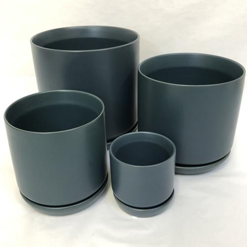 Dark Blue Pot and Saucer