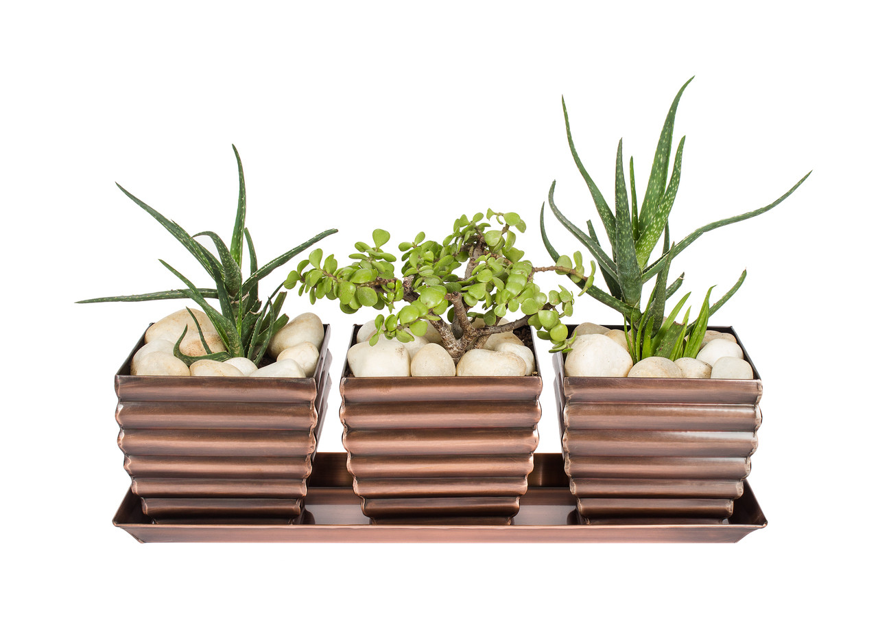H Potter Planter Pots Set Of 3 Outdoor Indoor Use Square