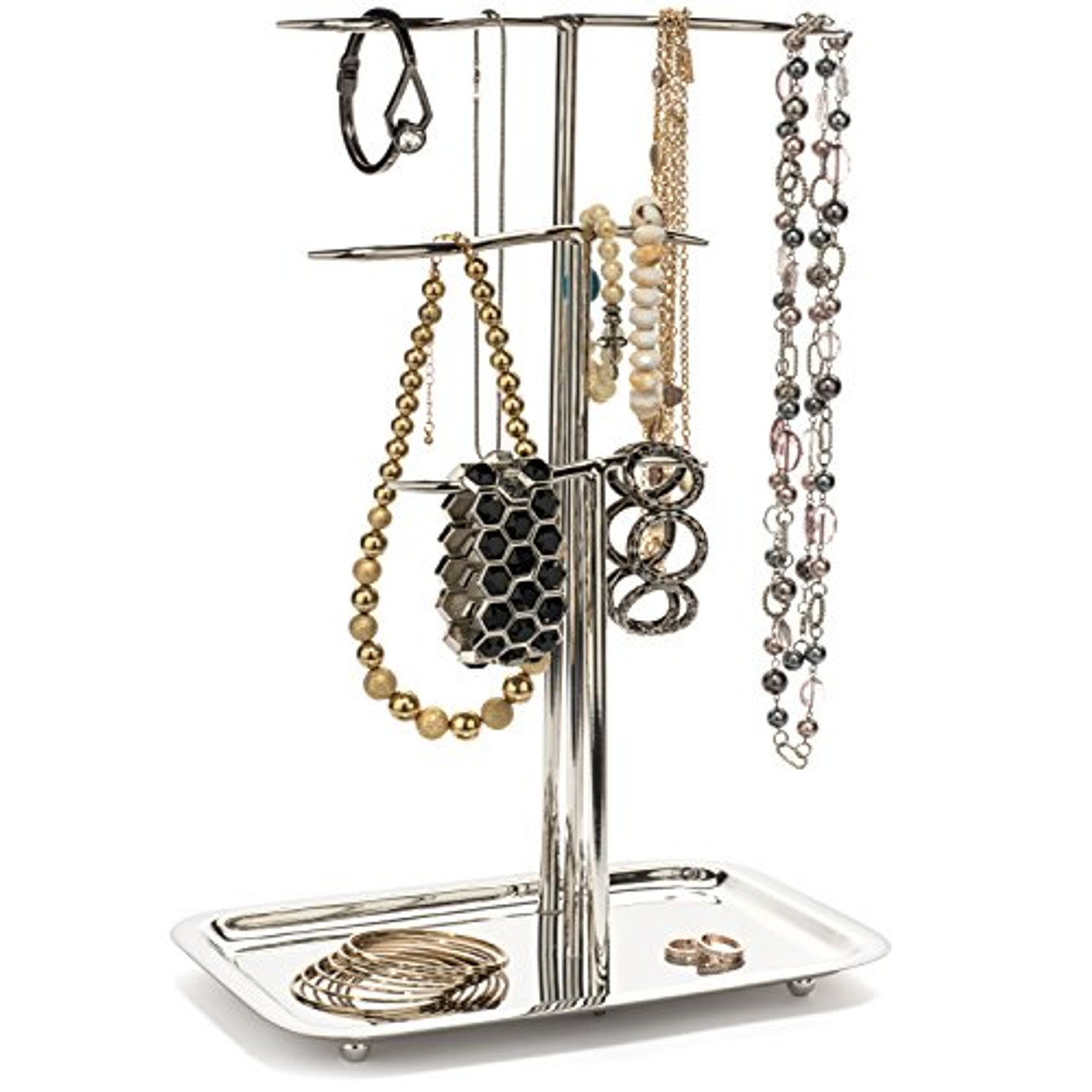 043ccddb2 OVERSTOCK DEALS NEW IN THE BOX H Potter Jewelry Tree Organizer & 3 Tier  Chrome Display Stand with Tray – Hanging Storage Holder for Necklaces  Bracelets ...