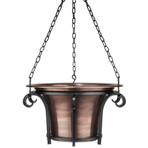 H Potter hanging planter metal iron outdoor flower container round antique copper