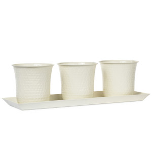 H Potter planter white finish metal planter set herbs indoor outdoor