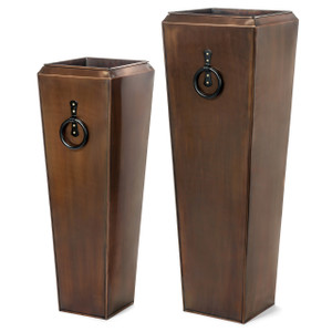 H Potter Tall Outdoor Planters Antique Copper - Set of Two