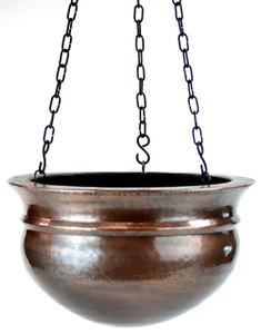H Potter Large Brass Patio Deck Hanging Planter Antique Finish
