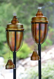 H Potter Rustic Copper Tiki Torch Set of 2