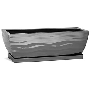 H Potter window box planter plant container metal outdoor decor stainless steel black nickel