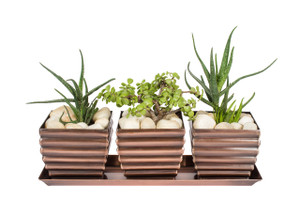 Merveilleux H Potter Planter Pots Set Of 3 Outdoor U0026 Indoor Use U2013 Square, Succulent  Flower Herb Box For Home, Patio, Garden, Deck, Balcony U2013 Antique Copper  Finish ...