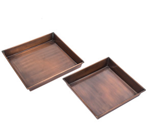 Set of 2 Drip Trays for GAR271ANT H Potter Planters Tall Outdoor Indoor Antique Copper