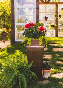 Warehouse Deals H Potter Used Planter Tall Antique Copper Indoor Outdoor Patio Deck Garden
