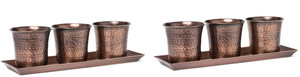 H Potter 2 Sets of Three Mini Flower Garden Window Box Planter Pots Antique Copper