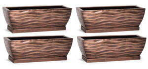 H Potter Rectangular Planter Flower Pot Indoor Outdoor Window Box Set of Four