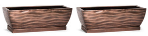 H Potter Rectangular Planter Flower Pot Indoor Outdoor Window Box Set of Two