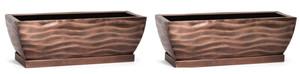H Potter Rectangular Planter Flower Pot Indoor Outdoor Window Box Set of Two