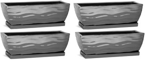 H Potter Planter Rectangular Flower Pot Indoor Outdoor Window Box Set of Four Black Nickel