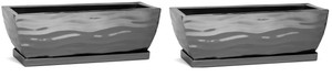 H Potter Planter Rectangular Flower Pot Indoor Outdoor Window Box Set of Two Black Nickel