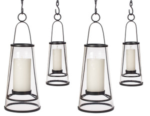 H Potter Hanging Patio Deck Candle Holder Lantern Set Four