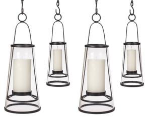 H Potter Hanging Patio Deck Candle Holder Lantern Set Four